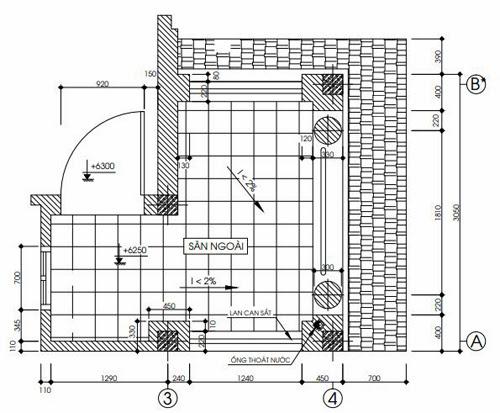 Chi tiết mặt bằng sảnh cầu thang tầng 2, tầng 3