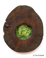 """""""Walwirbel 4. Chakra"""", Öl auf Leinwand hinter lasierte, hohler Baumscheibe, 35x40, 2005"""
