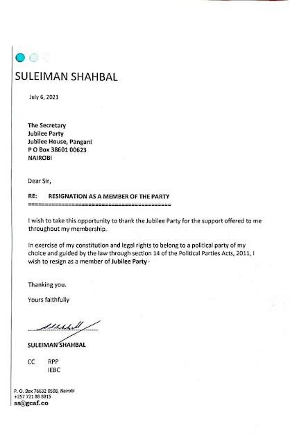 Suleiman Shahbal resignation letter