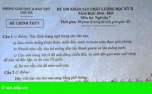 Hình 1: Đề thi về tiếng địa phương gây khó cho học sinh