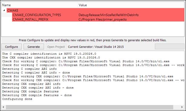 configure cmake project