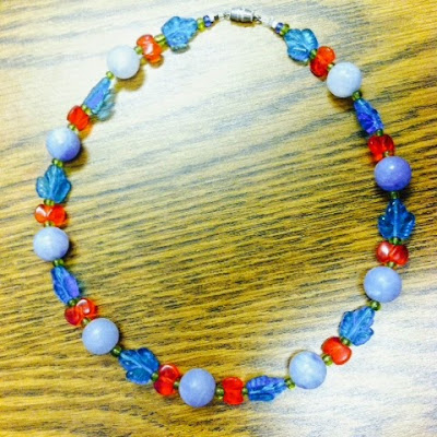 handmade choker with periwinkle, turquoise, red and bright green beads
