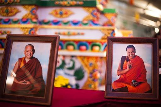 Photos of Lama Zopa Rinpoche and Lama Yeshe with the Heart Shrine Relics displayed around the Kurukulla Stupa at Kurukulla Center, October 2012. Phtoo by Kadri Kurgun.