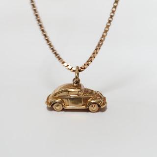 14K Gold Box Chain & Car Pendant