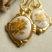 Yellow tea rose earrings