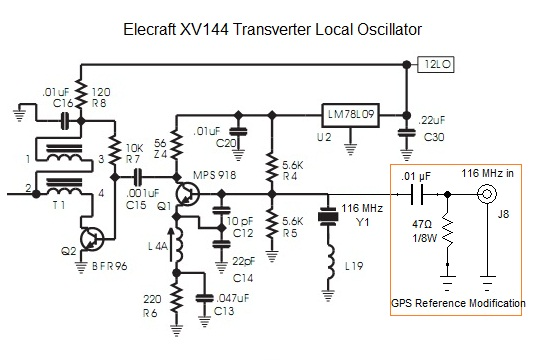 A typical Elecraft XV144 transverter modification for GPS frequency reference. The 47Ω resistor suppresses the 116 MHz crystal oscillations and Q1 functions to amplify the external 116 MHz reference signal.