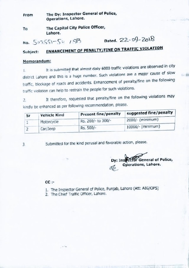 INCREASE IN THE FINE / PENALTY ON TRAFFIC VIOLATION