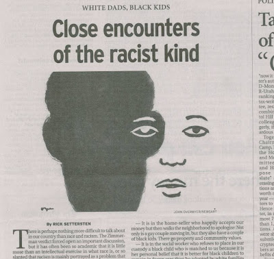'Close encounters of the racist kind' - newspaper opinion piece graphic 'White dads, black kids: Close encounters of the racist kind' Oregonian, Aug. 11, 2013, p. B8