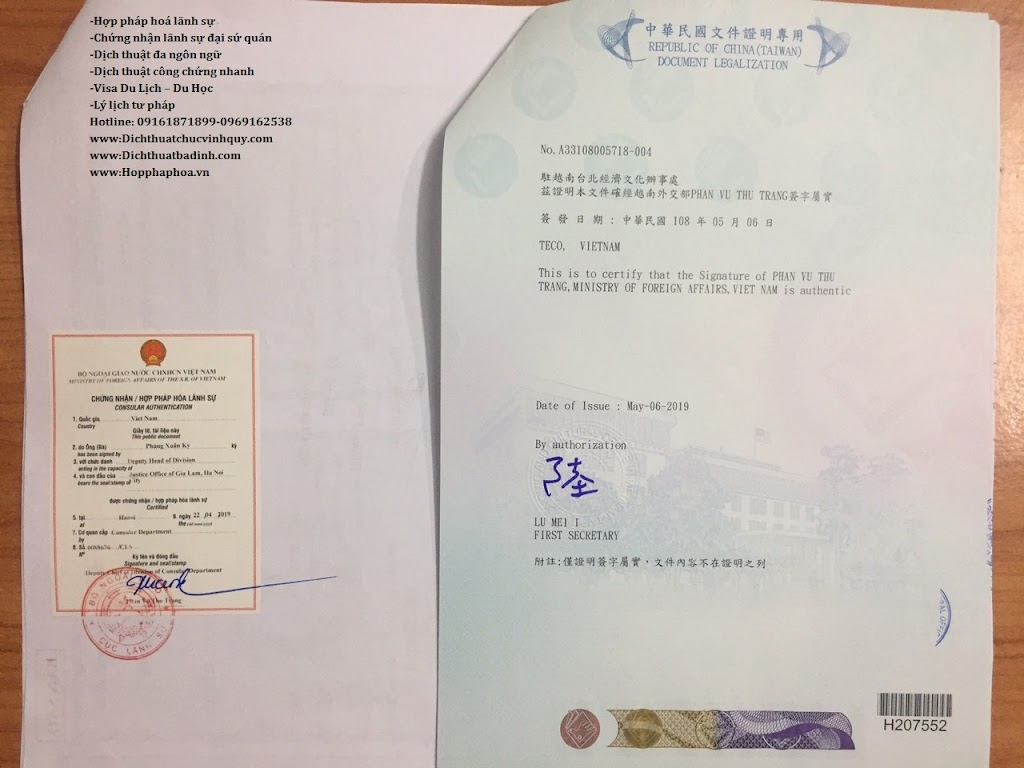 Tem chứng nhận lãnh sự phòng kinh tế văn hóa Đài Bắc ở Hà Nội