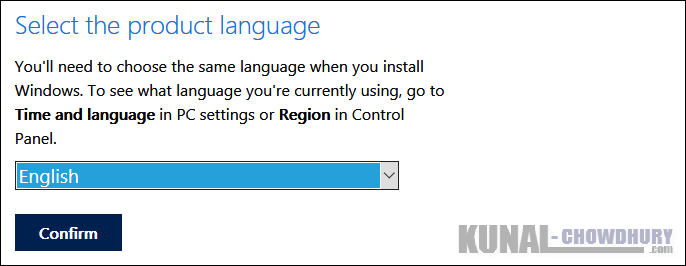 Windows 10 ISO Image Download - Confirm Selected Product Language (www.kunal-chowdhury.com)