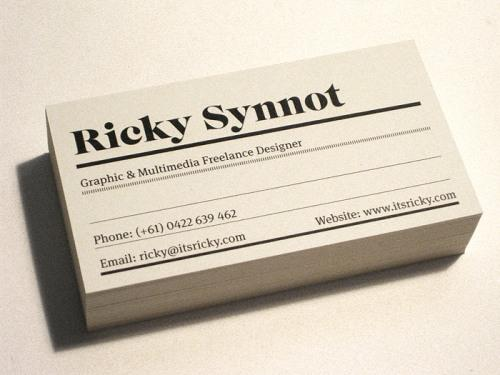 Ricky Synnot Business Cards