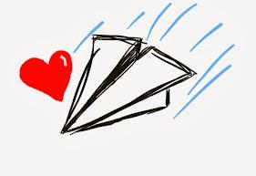 Avión de papel y corazón