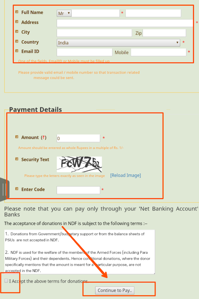 How to donate money to indian army