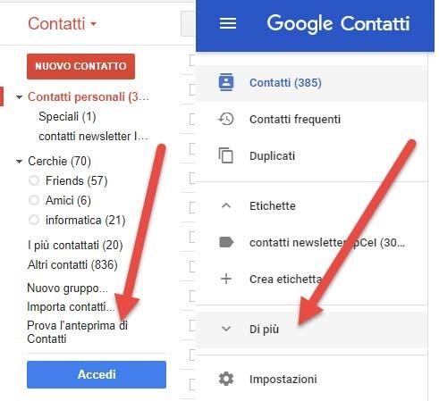 google-contatti