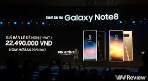 Samsung Galaxy Note 8 tại Việt Nam giá từ 22,5 triệu