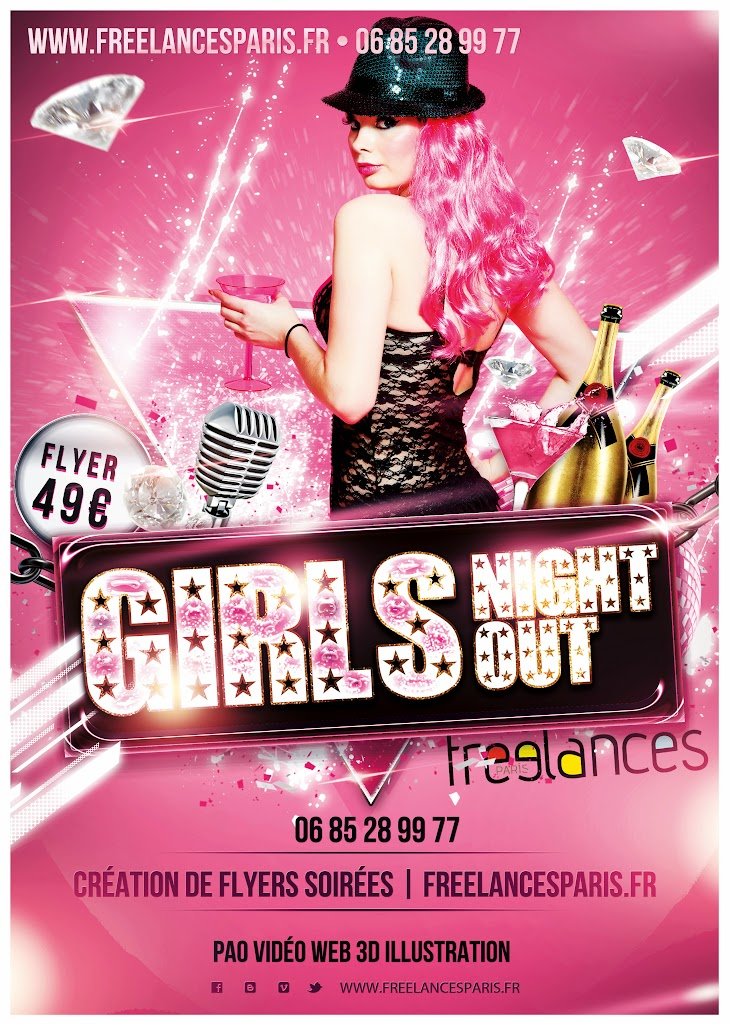 création flyers soirées thème Girls Night Out