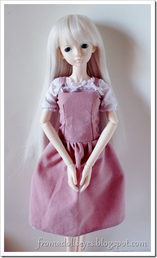 A pretty pink dress for a ball jointed doll.