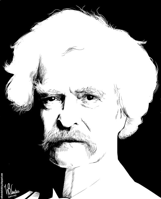 Ink drawing of Mark Twain, using Krita 2.4.