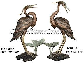 Bronze, Crane, Heron, Pair, Statue