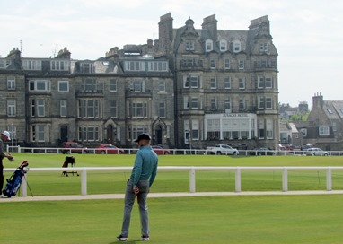 17050782 May 22 Looking across practice green and the 1st & 18th holes to hotel along the 18th