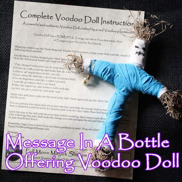 Details about Message In A Bottle Voodoo Doll Ritual Poppet Money Love  Curse Sex Luck Prayer