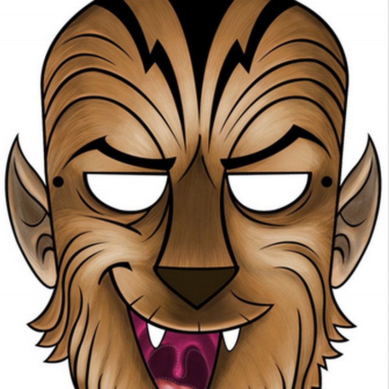 gratis Máscara hombre lobo en color