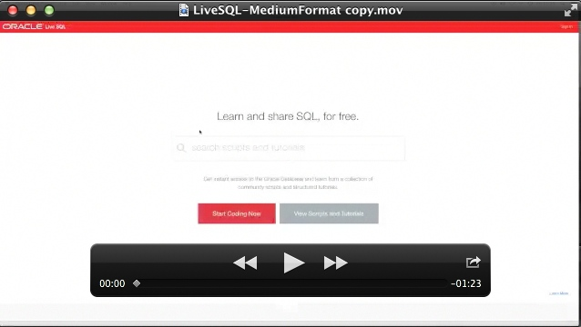 LiveSQL video showing using new pattern matching tutorial