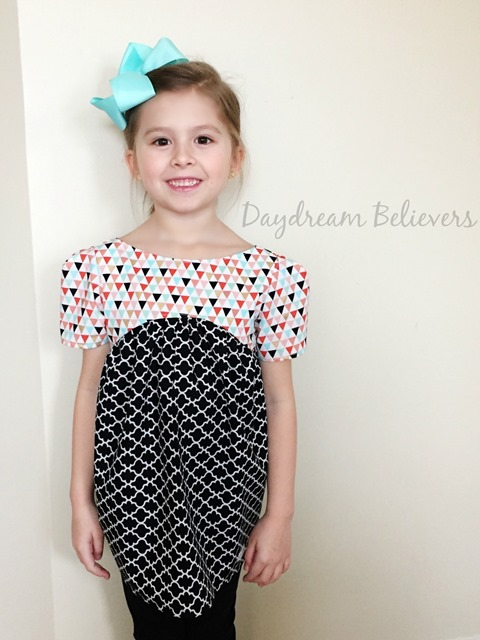 Modern Geometric black white coral mint gold top for girls by Daydream Believers Designs 5
