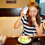 shizuka having a salad in Roppongi, Tokyo, Japan
