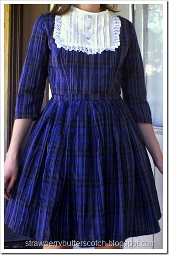 Making over a blue plaid dress, again.