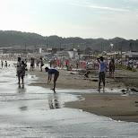 at Yuigahama Beach in Kamakura, Japan in Kamakura, Kanagawa, Japan