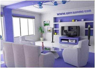 Desain Interior Ruang Tamu Kombinasi Warna