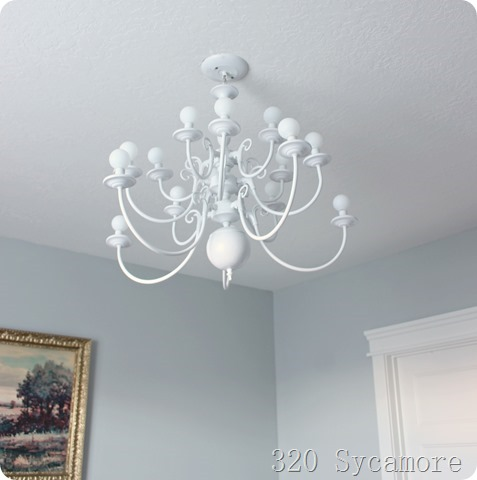 white painted chandelier