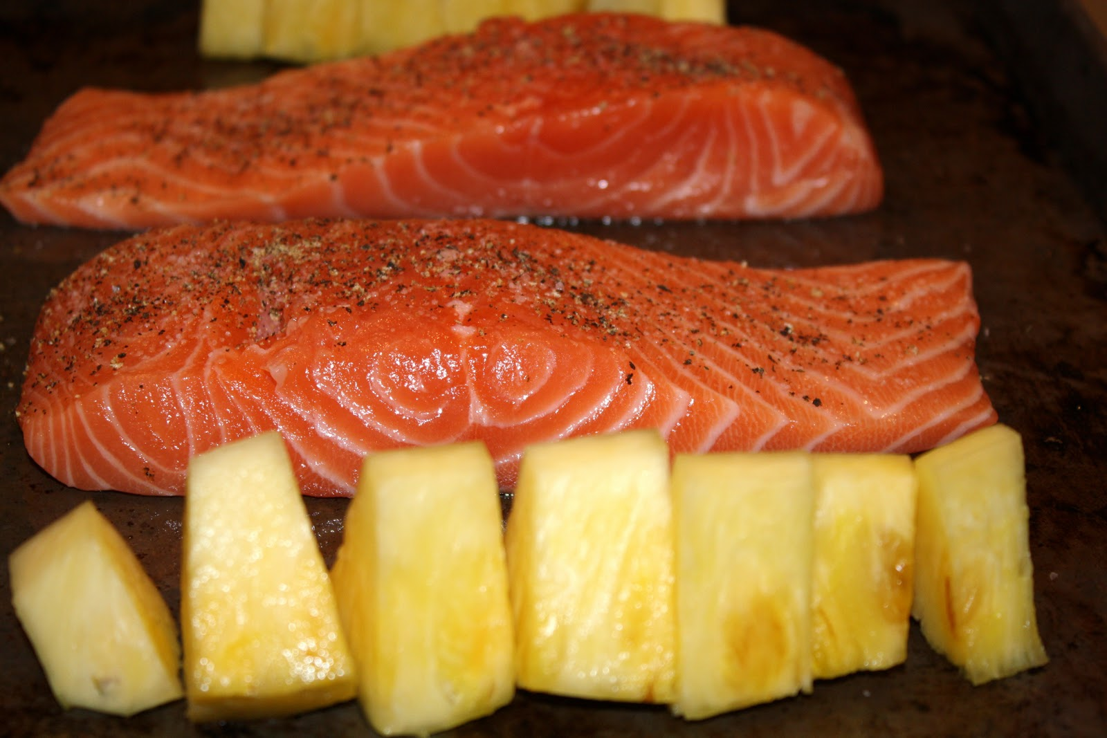 ... dinner?: broiled sweet-and-spicy salmon with pineapple... 20 minutes