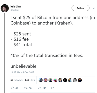 another person also tweeted complaining that he had to pay a $16 fee to send $25 worth of bitcoin from one bitcoin address to another