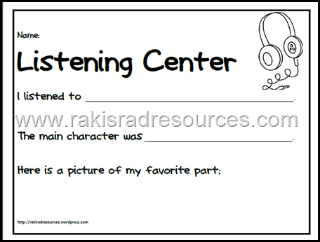 Free accountability sheet for your listening center to be sure that your students are getting the most out of the stories they are listening to. From Raki's Rad Resources.