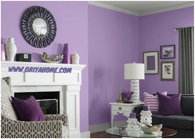 ruang tamu cat purple