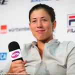 STUTTGART, GERMANY - APRIL 22 : Garbine Muguruza talks to the media at the 2016 Porsche Tennis Grand Prix