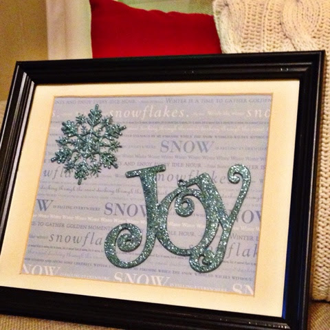 christmas decor with scrap paper and flat ornaments in frame