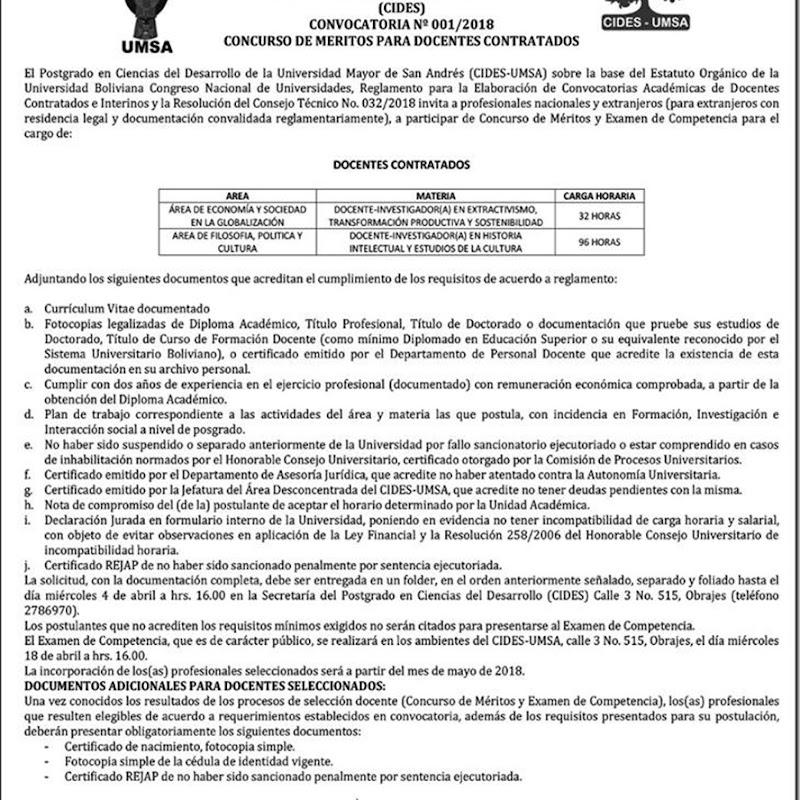 CIDES UMSA 2018: Convocatoria a Concurso de Méritos para Docentes Contratados