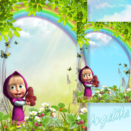 Kid's Frame with Heroes of Cartoon Film - Raspberry suited Masha