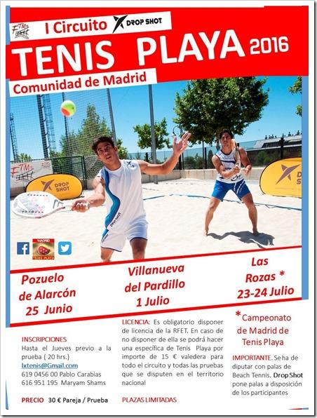 I Circuito Tenis Playa FTM 2016 Drop Shot en la Comunidad de Madrid.