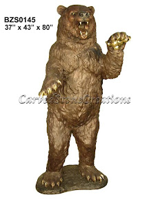 Angry, Bear, Bronze, Standing, Statue