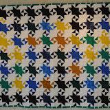 CONSTELLATIONS MATHEMATIQUES - Jocelyne Laigros - Piécé machine - Quilté machine par Chantal Deschamps - Reproduction d'une mosaïque de la Salle du Mexuar - Palais de L'Alhambra de Grenade - Espagne