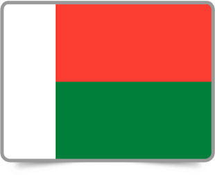 Malagasy framed flag icons with box shadow