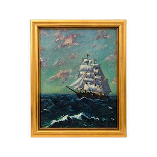Signed 1920s Nautical Oil Painting