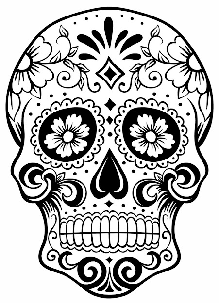 This Candy Skull Is Also Very Simple But Has Nice Effect Because Of The  Flowers And The Swirls The Formal Elements Used On This Candy Skull Are  Line