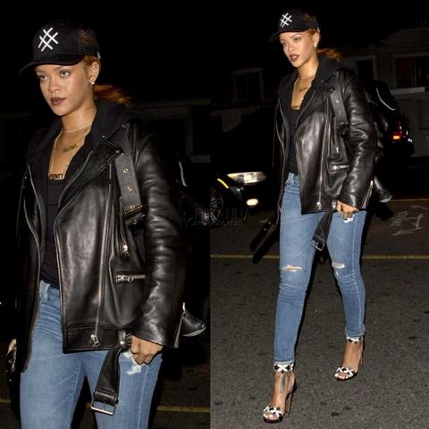 Rihanna in Azzedine Alaïa Cut Out Sandals