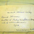 back of David Gleaves picture; Brother David, McCloud, Oklahoma Territory, David Gleaves, Brother of Emilia Field (Gleaves) Thompson wife of William Thompson by N.T.B.; Nellie Thompson Burks