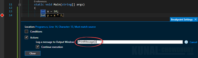 4. Call a method when a breakpoint hits in Visual Studio 2015 (www.kunal-chowdhury.com)